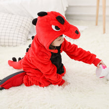 Load image into Gallery viewer, Children's Pajamas Cartoon New Jumpsuit Flannel Dinosaur Animal Play Suit