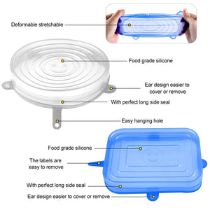 Reusable Food Silicone Covers Wrap Stretch Lids Food Storage Lid