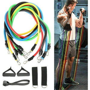 11 Pcs Resistance Bands Set Training Exercise Yoga Tubes Pull Rope Equipment With Bag