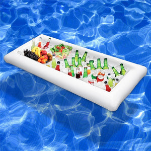 Inflatable Beer Table Pool Float Summer Water Party Air Mattress Ice Bucket Servin