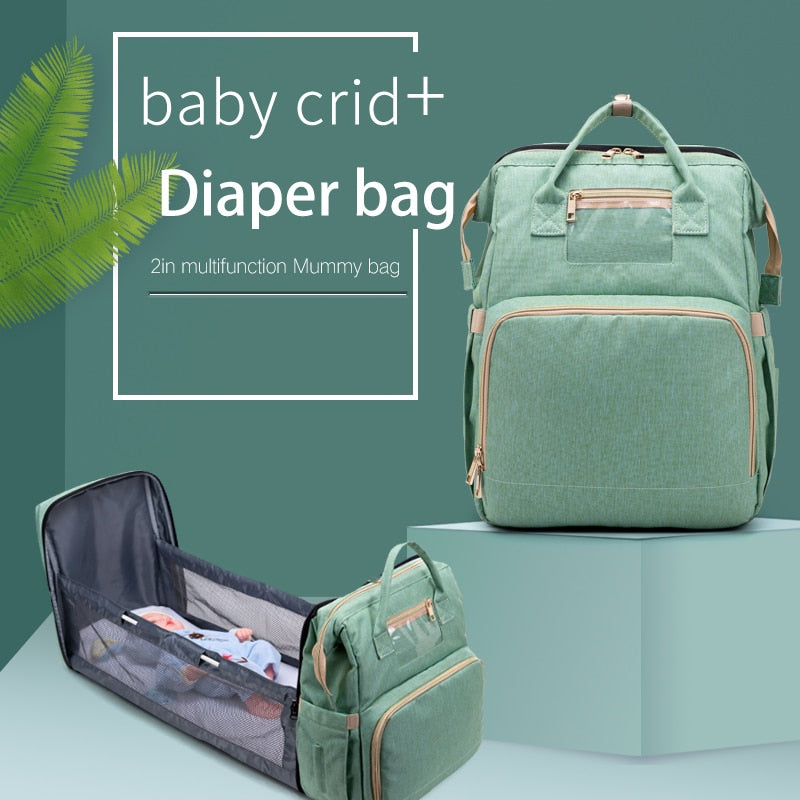 Large Capacity Diaper Bag Mummy Backpack Travel Portable  Multifunction Fold Bed Bags