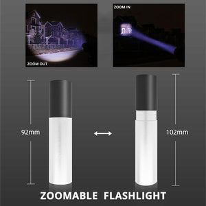 USB Rechargable Mini LED Flashlight 3 Lighting Mode Waterproof Torch Telescopic Zoom Stylish Portable Suit
