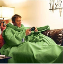 Load image into Gallery viewer, Warm Fleece Blanket with Sleeve Throws on Sofa/Bed/Plane Travel Blanket