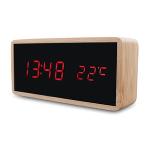 Wooden Alarm Night Light Clock LED Display Mirror Temperature Digital Watch Electronic Watch