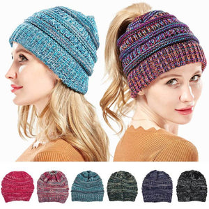 Women Winter Ponytail Hat Warm Soft Knit Cap