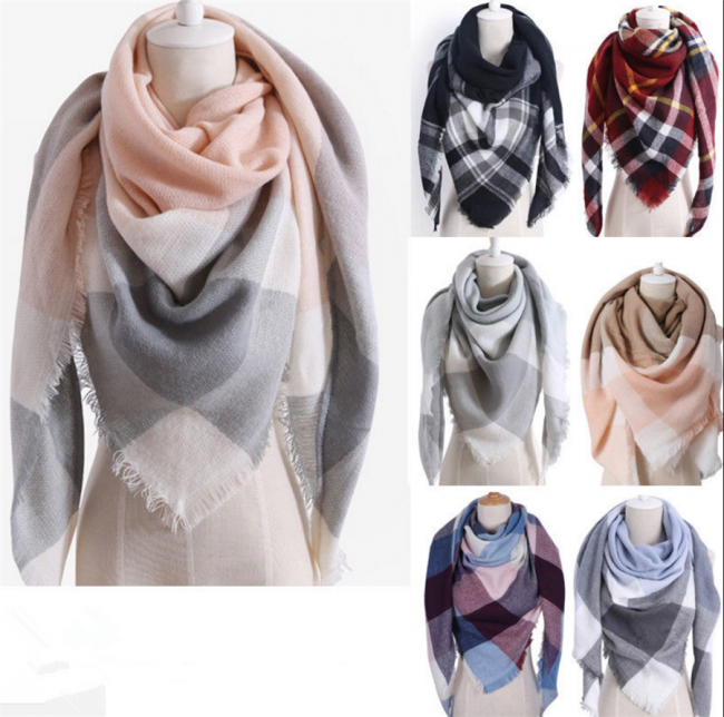 Womens Warm Check Neck Scarf Shawl