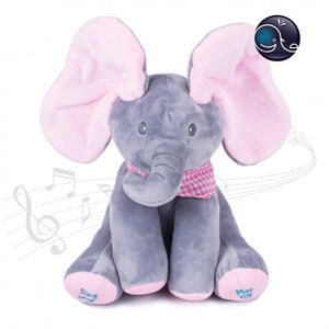 30CM Music Plush Doll Play Educational Music Hide Seek Baby Child Pink Grey Elephant