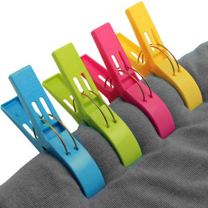 8 Pcs Plastic Color Clothes Pegs Beach Towel Clamp Laundry Clothes Pins Large Size Drying Racks Retaining Clip Organization