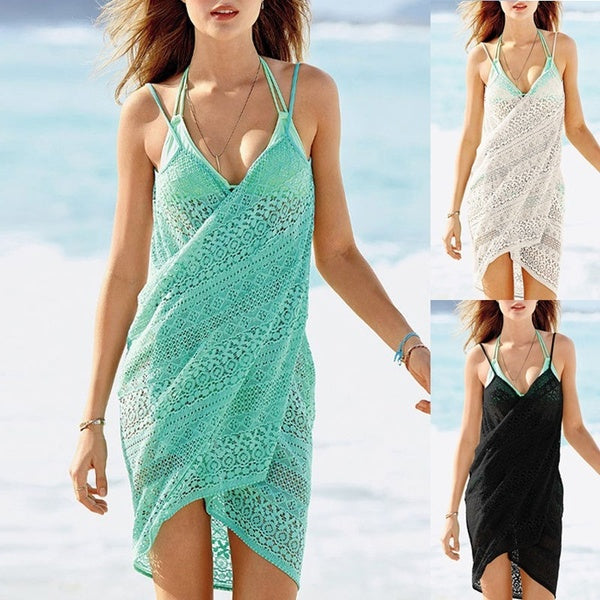 Women Lace Crochet Bikini Cover Up Summer Beachwear