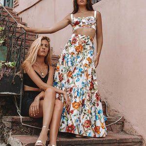 Sexy Off Shoulder Midriff-Baring Floral Vacation Beach Maxi Dress