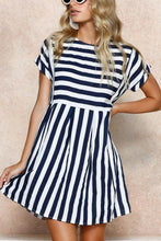 Load image into Gallery viewer, Random Short Sleeves Stripe Mini Dress