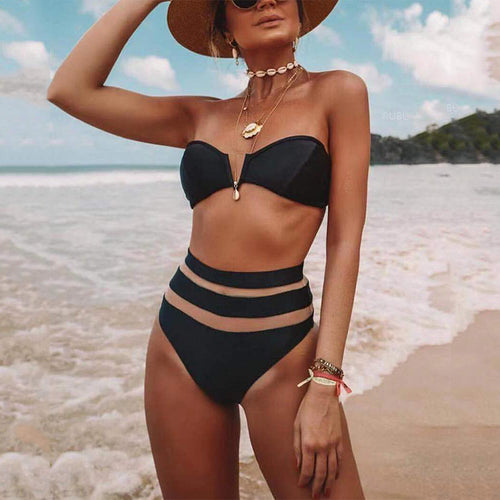V-Neck Mesh Stitching Sexy High-Waist Bikini