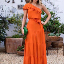 Load image into Gallery viewer, Elegant Sloping Shoulder Ruffled Belted Pure Colour Dress