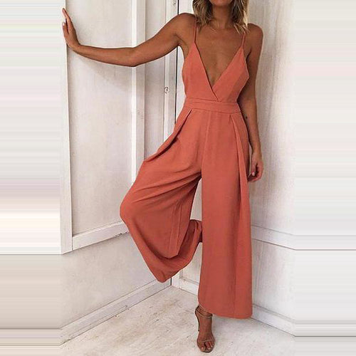 Women's New Sexy Halter Back Belt Jumpsuit