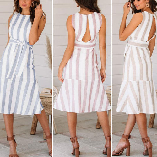 Elegant Round Collar Striped Belted Skater Dress