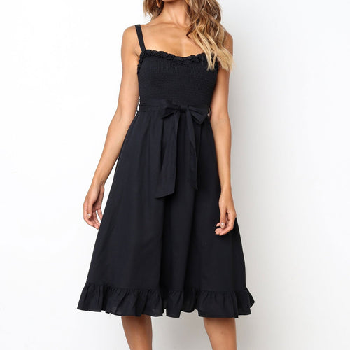 Fashion Plain Off Ashoulder Bow Embellished Vacation Dress