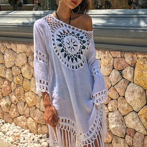 JOJORUBY Sexy Hollow Out Knit Tassel Loose Swimwear Cover Up