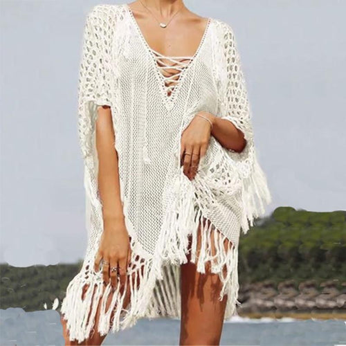 Fashion Hollow Out Pure Colour Tassel Knitwear
