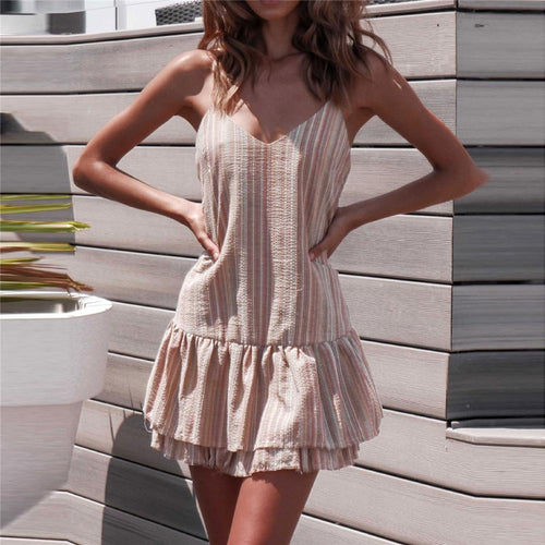 Summer V Collar Colorful Striped Loose Vacation Dress