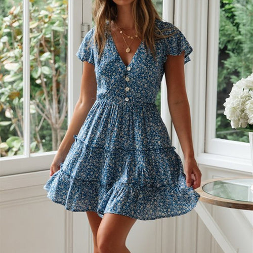Sweet Sexy V Collar Printed Button Dress