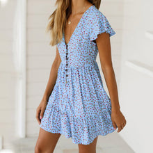 Load image into Gallery viewer, 2019 Sexy Ruffled V-Neck Printed Dress