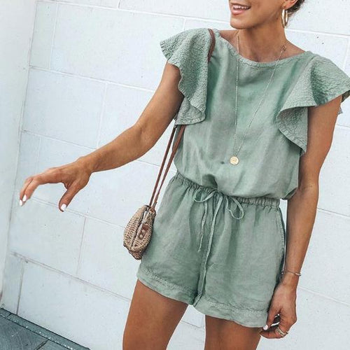 Fashion Round Neck Ruffle Sleeve   Waist Jumpsuit