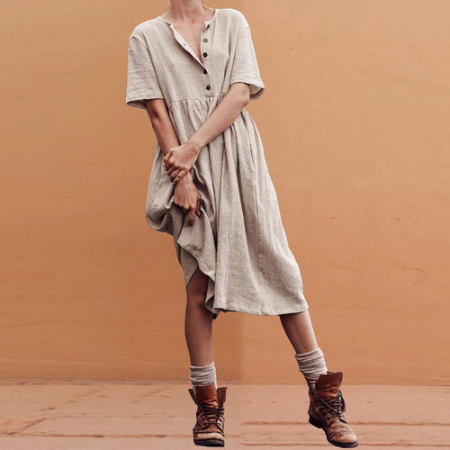 Solid Color Short-Sleeved Cotton   And Linen Slim Dress