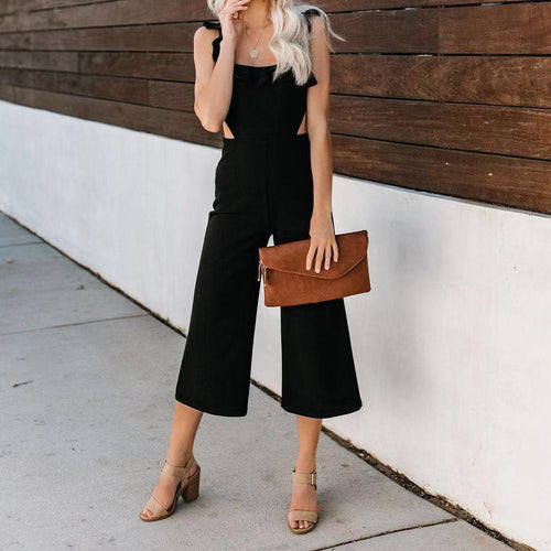 Sling High Waist Ruffled Solid   Color Slim Waist Sexy Jumpsuit