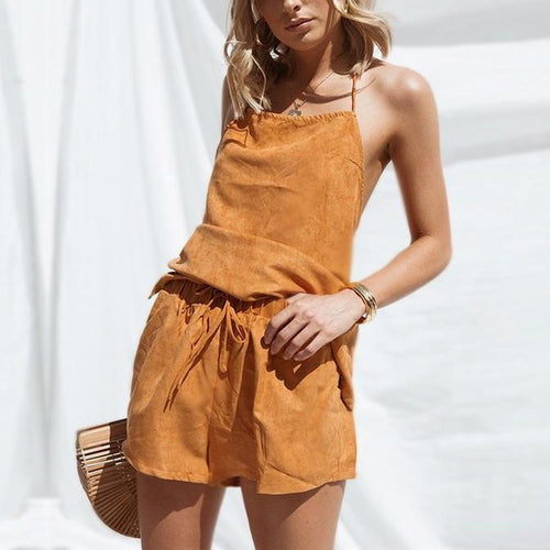 Sexy Shoulder Straps Backless Solid Color Top Shorts Suit
