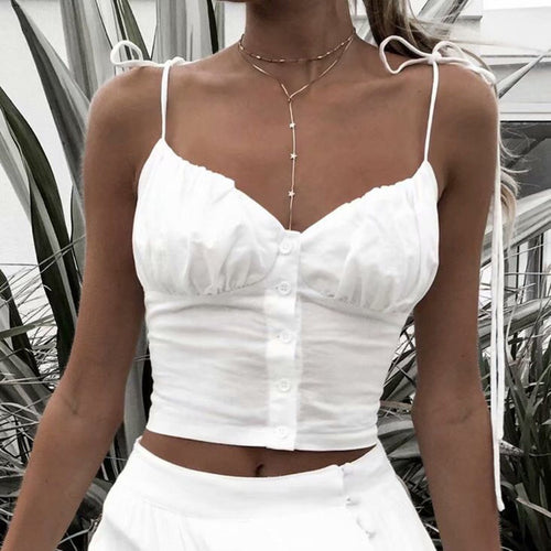 Sexy Low-Cut Single-Breasted Chest Pleated Slim White Sling Vest