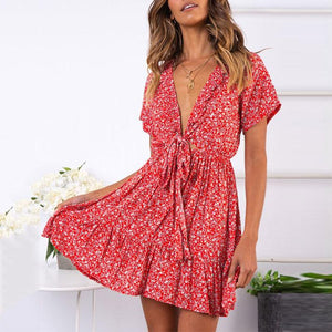 Fashion Deep V-Neck Tie With   Ruffled Dress