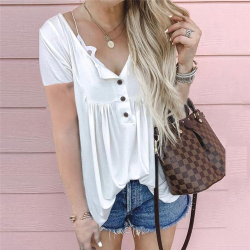 Casual Button Wrinkle Loose Short Sleeves Top