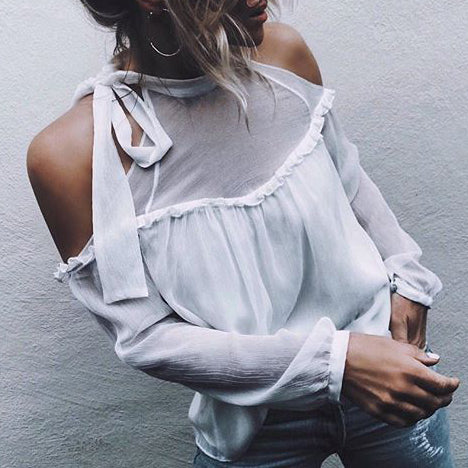 Fashion Perspective Sexy   Strapless Chiffon Shirt Top