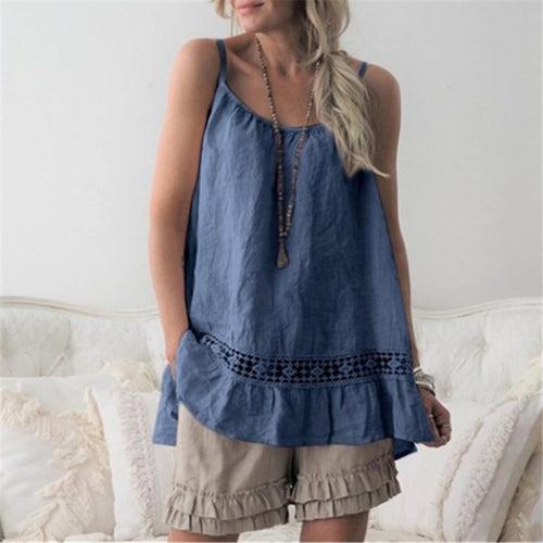 Casual Round Neck Loose Sleeveless Garment Top