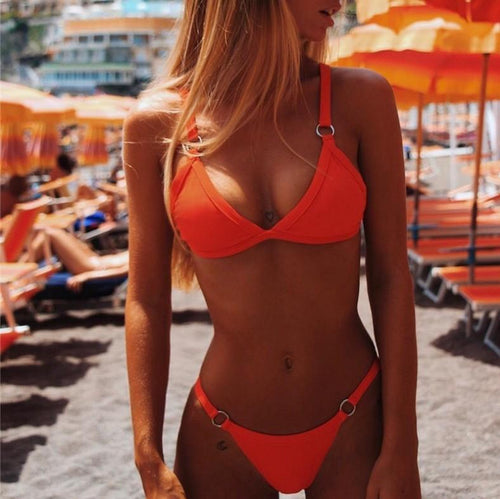 Sexy Solid Color Ring Buckle Bikini Split Bathing Suit