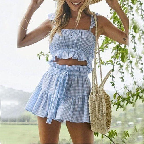 Fashion Plaid Vest Top Tie Shorts Suit