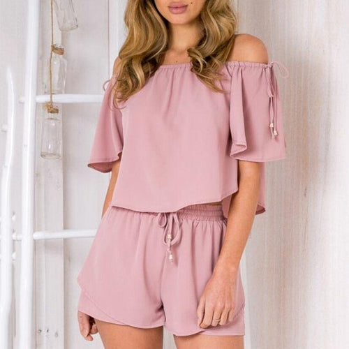Off Shoulder Lace-Up Top Shorts Casual Suit