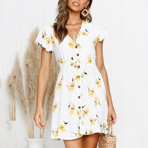 Floral Print Ruffle Sleeve Single Breasted Dress