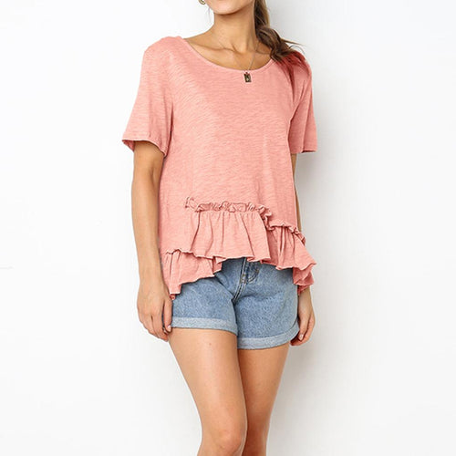 Ruffled Round Neck Short Sleeve   T Top
