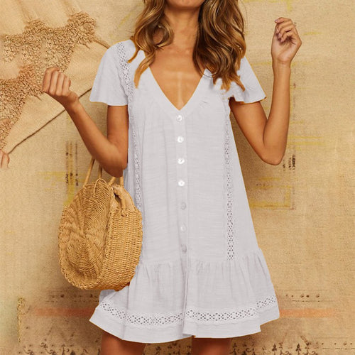 Solid Color Lace V-Neck Button Cutout Short-Sleeved Dress