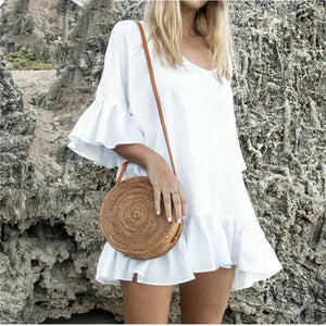 Solid Color Round Neck Imitation Linen Mini Dress