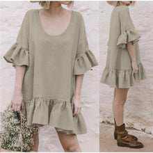 Load image into Gallery viewer, Solid Color Round Neck Imitation Linen Mini Dress
