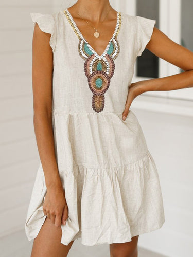Bohemian V Neck Printed Ruffle Dress