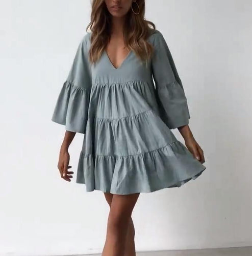 Pleated V-Neck Slouchy Mini Dress
