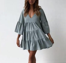 Load image into Gallery viewer, Pleated V-Neck Slouchy Mini Dress