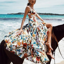 Load image into Gallery viewer, Sexy Off Shoulder Midriff-Baring Floral Vacation Beach Maxi Dress