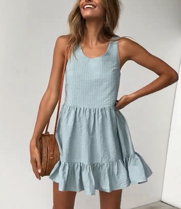Vest Pleated Large Dress Mini Dress