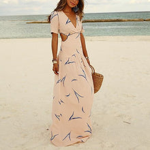 Load image into Gallery viewer, Deep V Waist Hollow Printed Vacation Dress