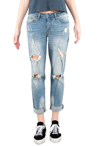 Distressed Roll Up Denim