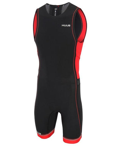 HUUB Core Triathlon Suit with Rear Zip - Mens Black/Red